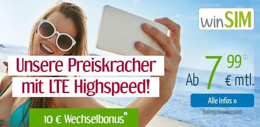 winSIM LTE All 2 GB Tarif nur 7,99 Euro pro Monat