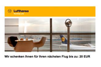 德国汉莎航空送20欧优惠卷