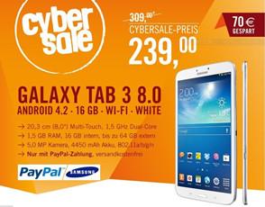 只在今天,Samsung Galaxy Tab 3 (8.0) 16GB WiFi白色只要239欧