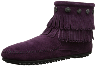 Minnetonka迷你唐卡双层流苏紫色豆豆底短靴5.5折,只要54.95欧!号码齐全且直邮全球