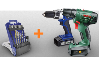 OBI买电动螺丝刀送螺丝刀头和钻头一套