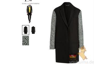 高端时装dvf女士羊毛大衣4折,各号码齐全