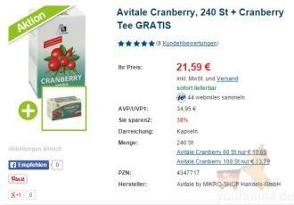 女性抗氧化首选德国Avitale蔓越莓营养片,限时六折加送蔓越莓茶