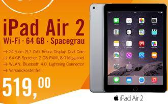 最新款苹果ipad air 2平板 64GB wifi版直减70欧,只有一天啦