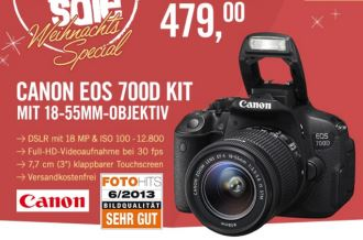 佳能EOS700D KIT套机折扣至479欧,仅限今天