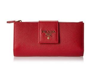 十字纹牛皮精制的prada女士桃红色钱包直降近150欧