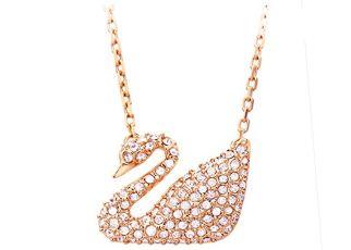 SWAROVSKI施华洛世奇水晶经典款天鹅吊坠项链玫瑰金色仅需71欧