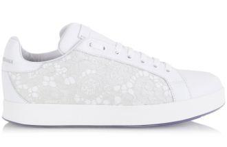 Dolce&Gabbana女士蕾丝绣花小白鞋六折特惠
