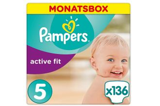德国Pampers帮宝适紫帮Active Fit系列纸尿裤5号136片低至38.42欧