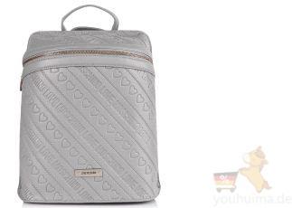 Love Moschino最新灰色印花双肩水桶包五折,仅需129欧