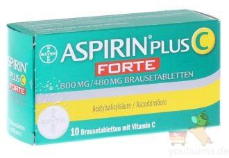 德国原装拜耳Bayer阿司匹林ASPIRIN维生素C泡腾片最新进阶版FORTE仅需6.39欧