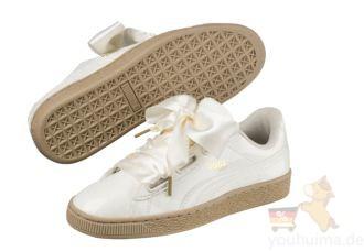 Puma最新款丝绸缎面蕾丝蝴蝶结鞋Basket Heart Patent