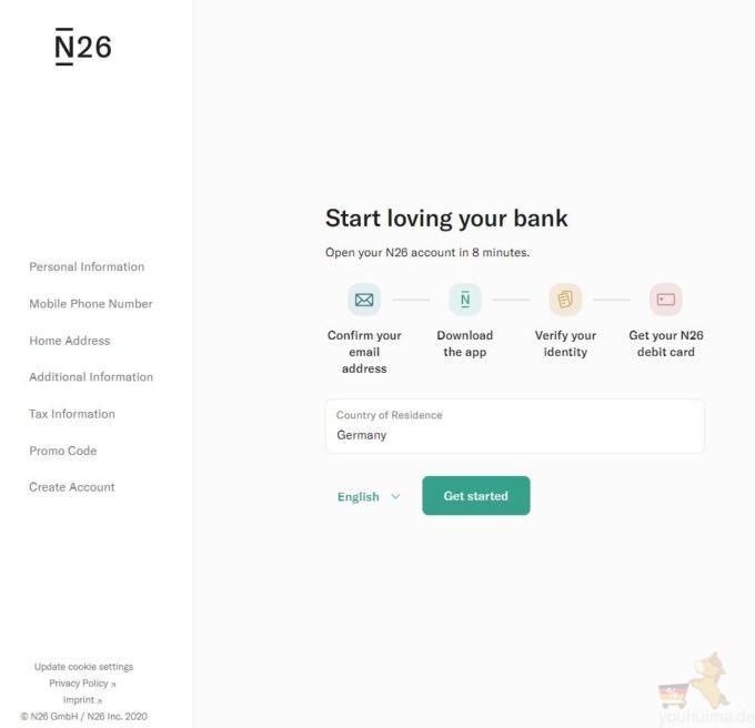 n26银行开户第一步