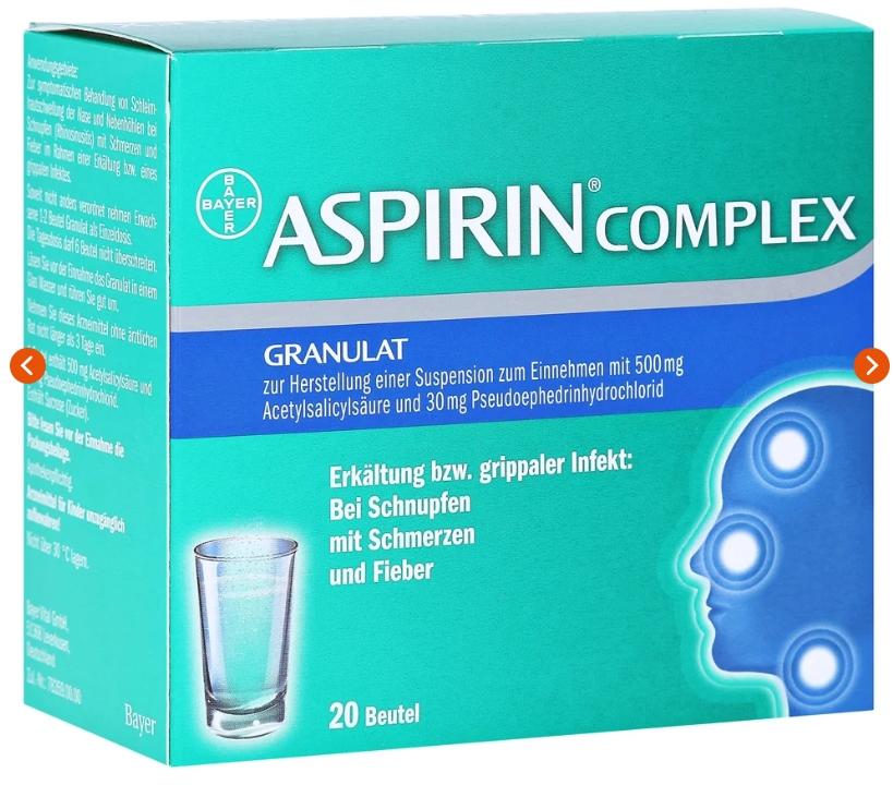 缓解感冒头痛发热德国阿司匹林aspirin颗粒装20包只要10欧
